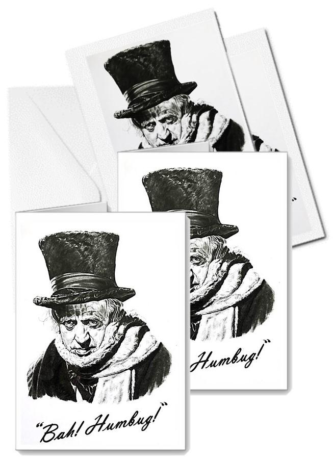 Christmas Carol Scrooge Drawing.Pack Of Five Bah Humbug Cards